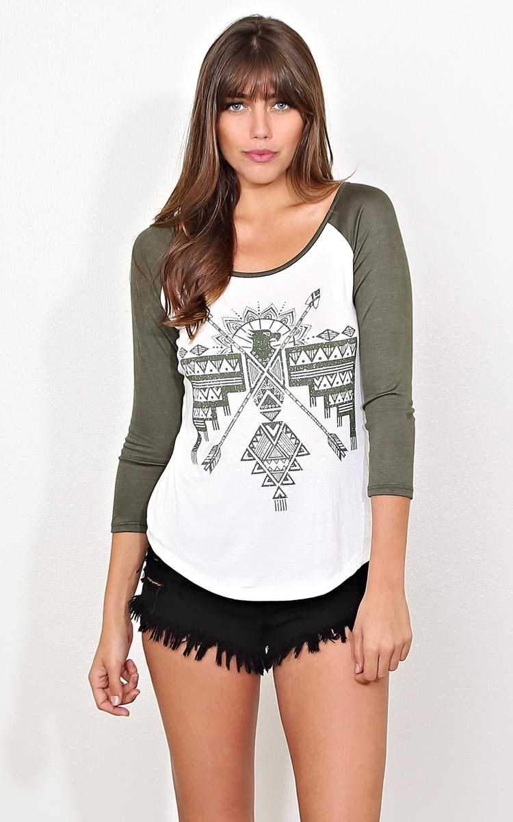 Stacked Tribal Knit Raglan - LGE - Olive Combo in Size Large by Styles For Less