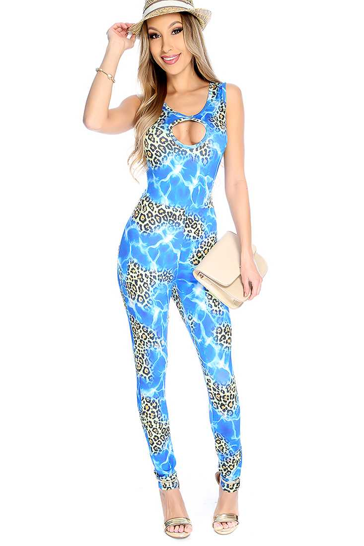 Sexy Blue Leopard Print Sleeveless Jumpsuit