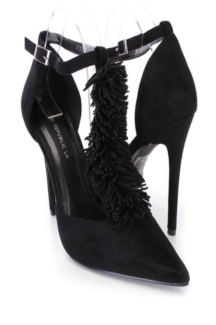 Black Fringe T-strap Single Sole Heels Faux Suede