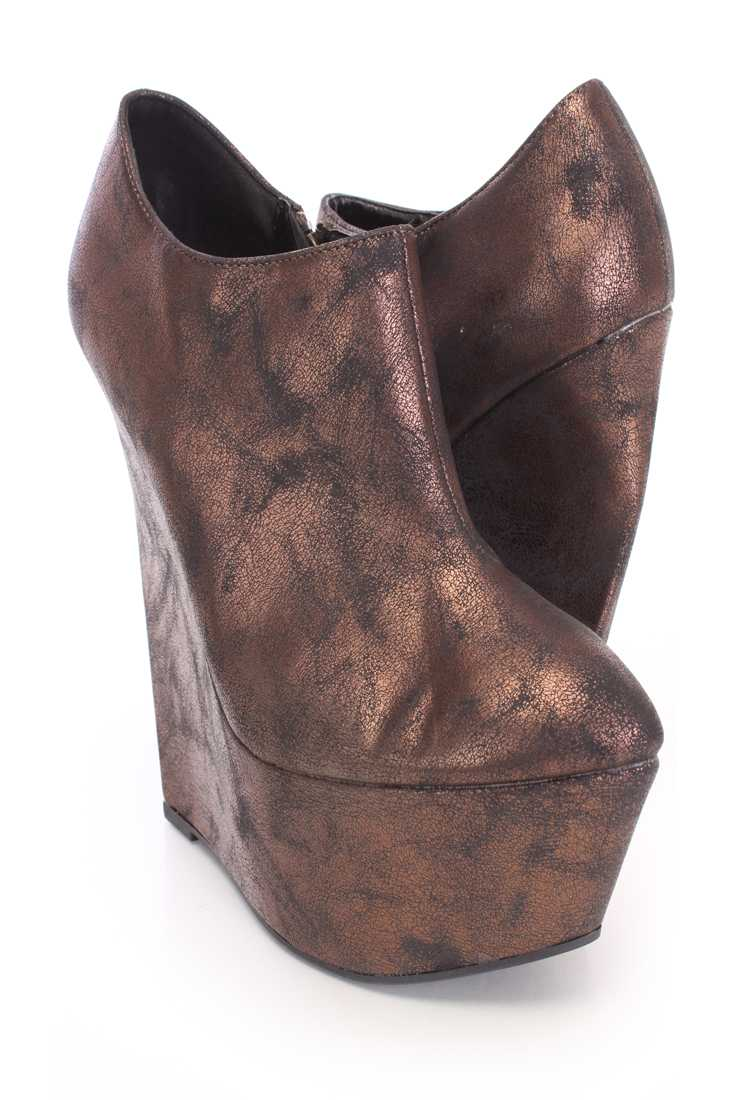 Bronze Semi-Pointed Wedges Distressed Faux Leather