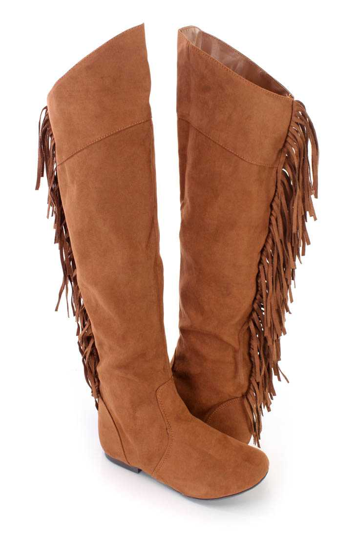 Dark Rust Fringe Knee High Flat Boots Faux Suede