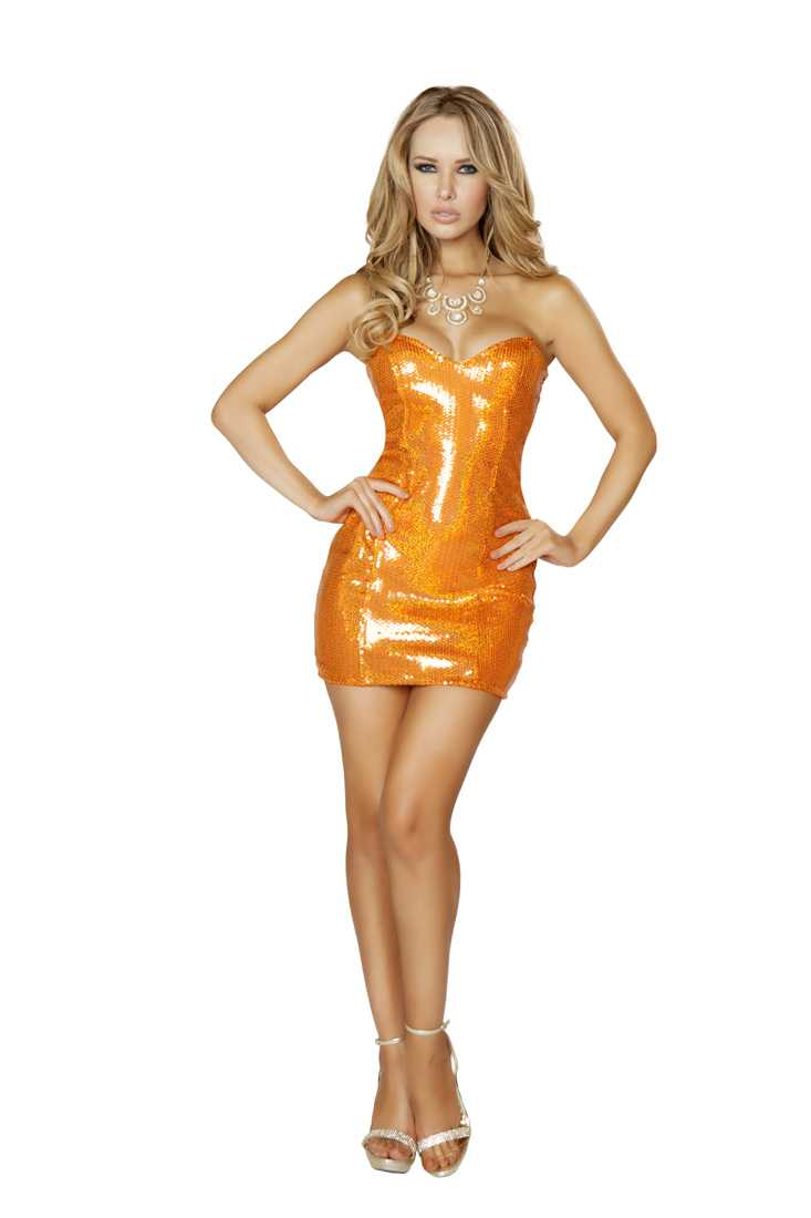 Orange Sequin Strapless Mini Dress
