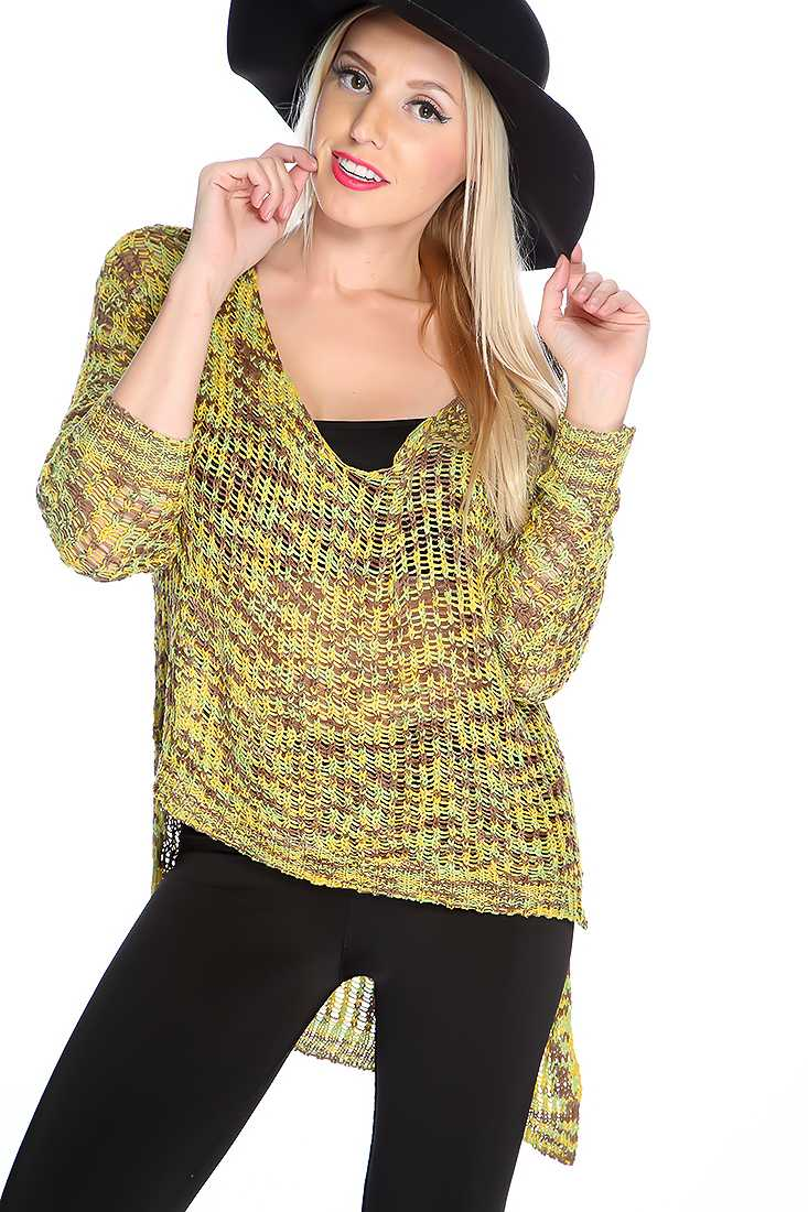 Lime Mocha Knitted High Low Sweater Top