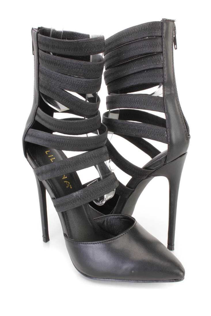 Black Strappy Design Single Sole Heels Faux Leather