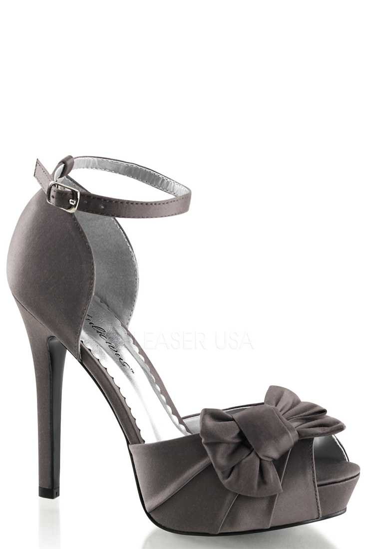 Grey Bow Accent Peep Toe High Heels Satin