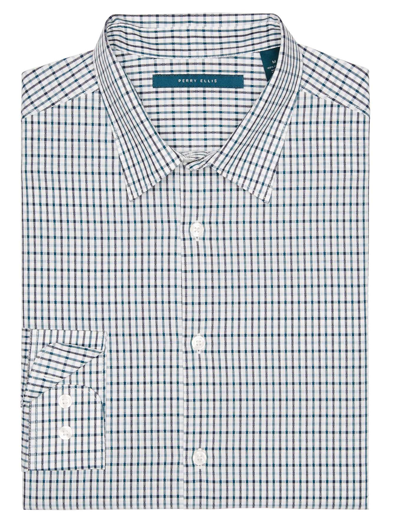Perry Ellis Slim Fit Dobby Check Shirt