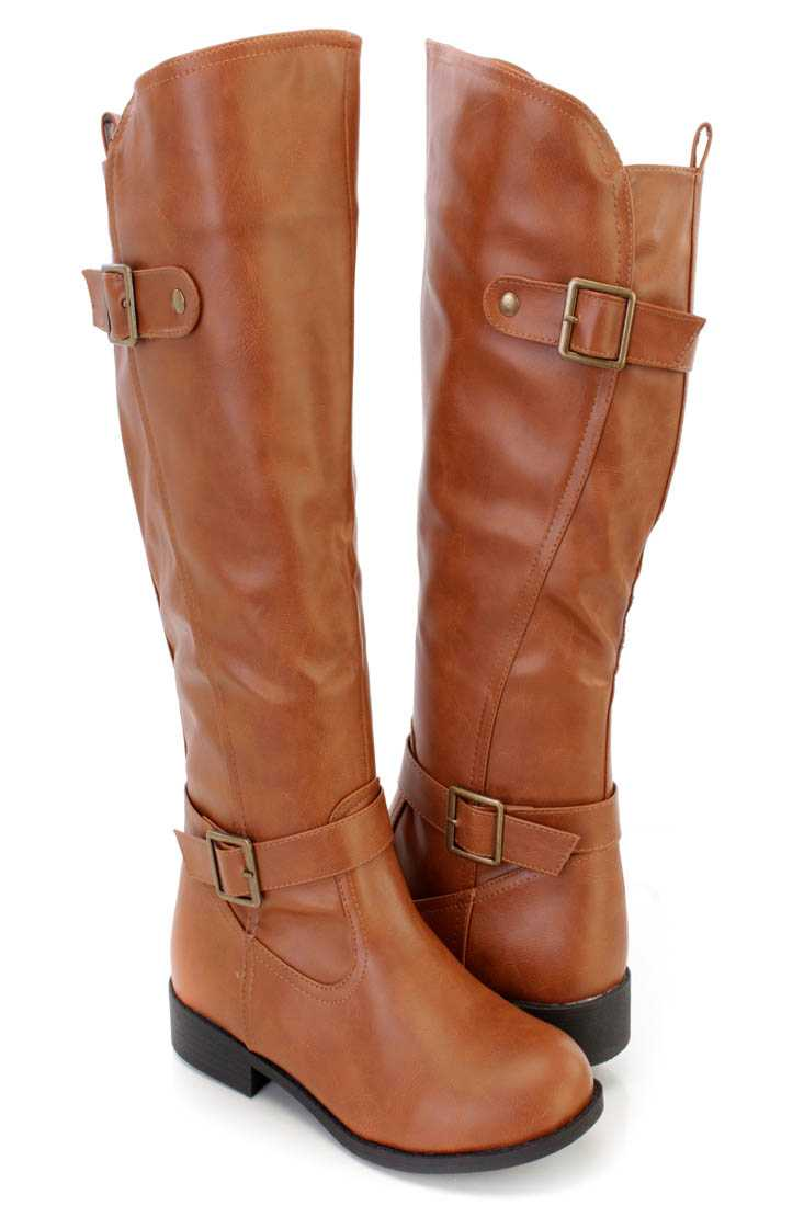 Cognac Strappy Knee High Riding Boots Faux Leather