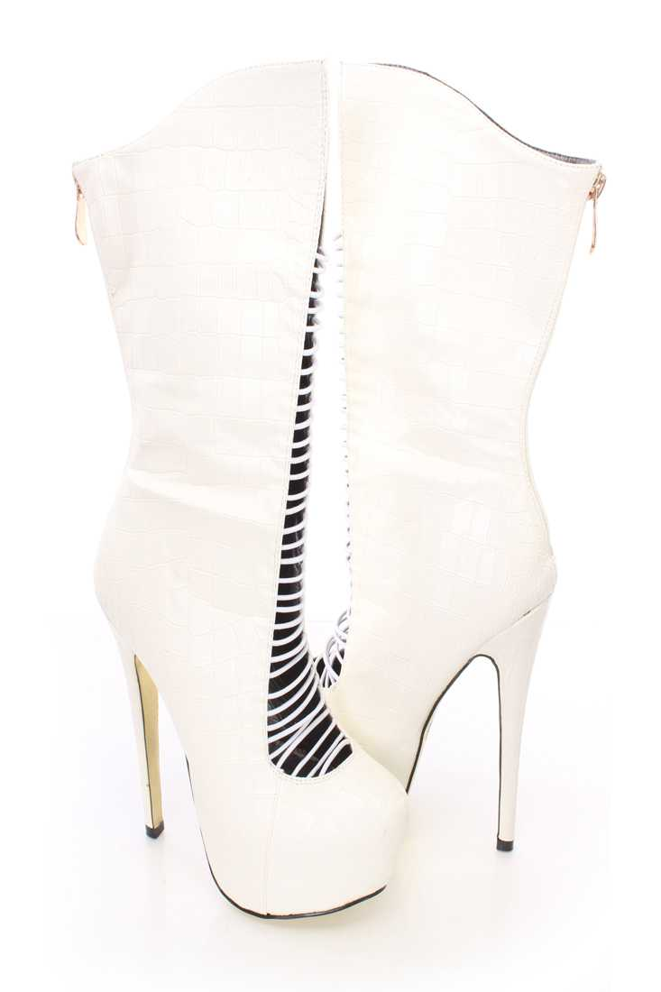 White Strappy Platform High Heel Boots Faux Leather