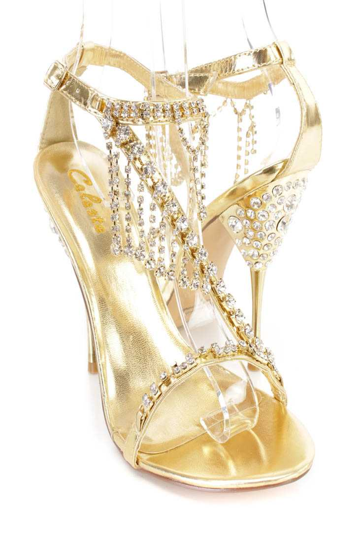 Gold Rhinestone Dangle Strappy High Heels Faux Leather