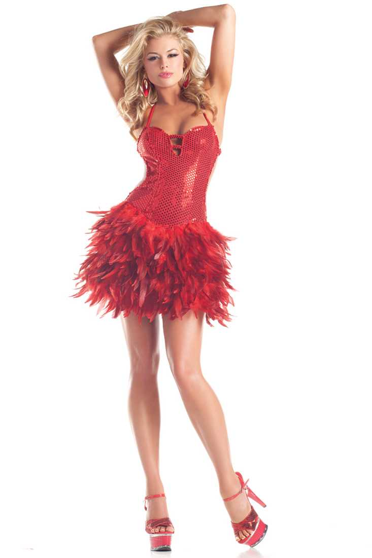 Red Sequin Feather Dress Sexy Costume