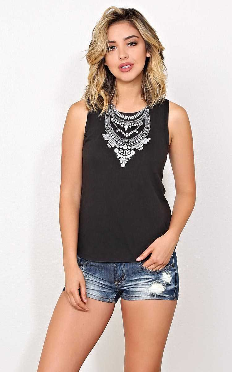 Danielle Mineral Wash Muscle Tank - - Black in Size by Styles For Less