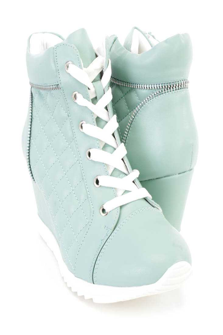 Light Mint Quilted Lace Up Sneaker Wedges Faux Leather