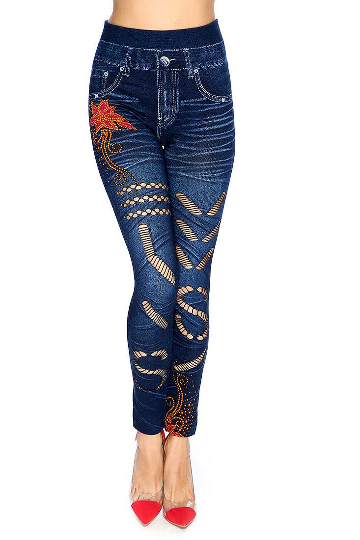 Casual Cute Navy Orange Razor Slits High Waist Jeggings