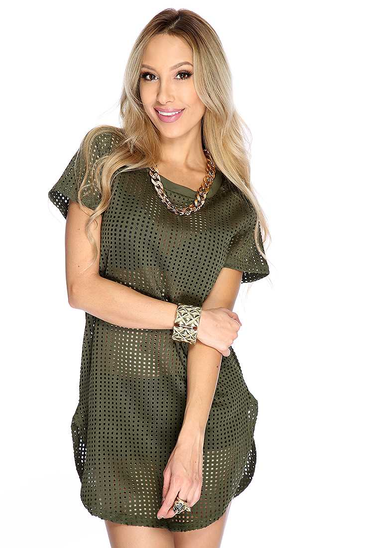 Sexy Army Green Short Sleeve Perforated Casual T-Shirt Dress