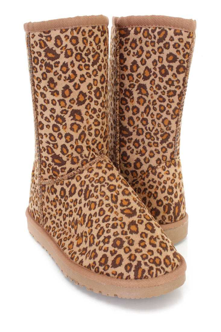 Leopard Slip On Casual Comfy Boots Faux Suede