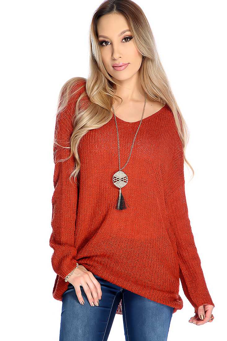 Rust V-neck Open Knitted Long Sleeve Sweater