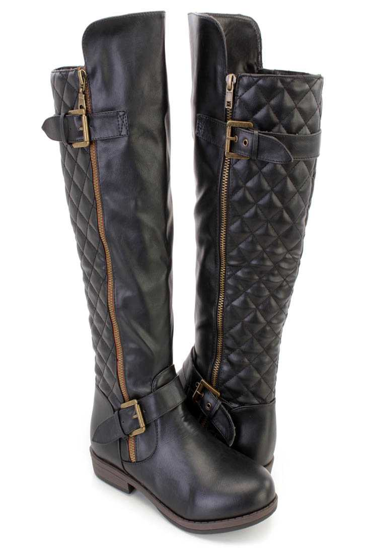Black Stitched Quilted Knee High Riding Boots Faux Leather