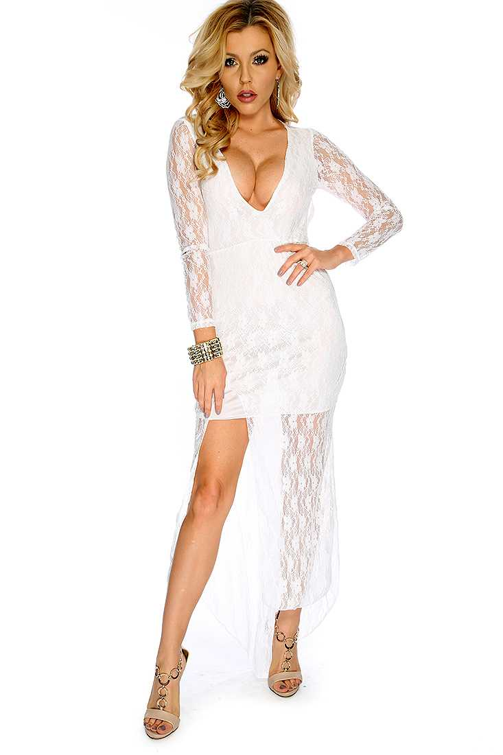 Sexy White Lace Long Sleeves Front Slit Cocktail Party Dress