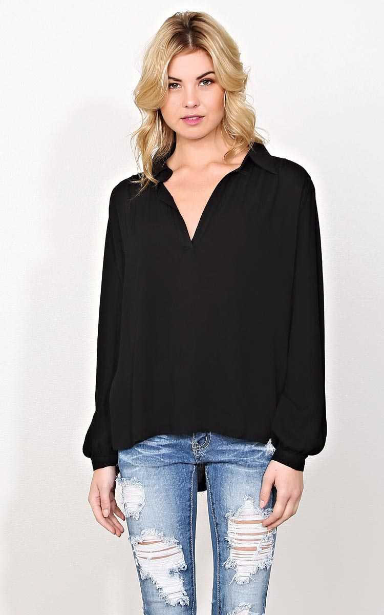 Hannah Woven Gauze Top - - Black in Size by Styles For Less