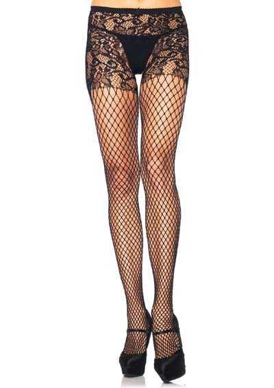 Black Floral Vine Pantyhose