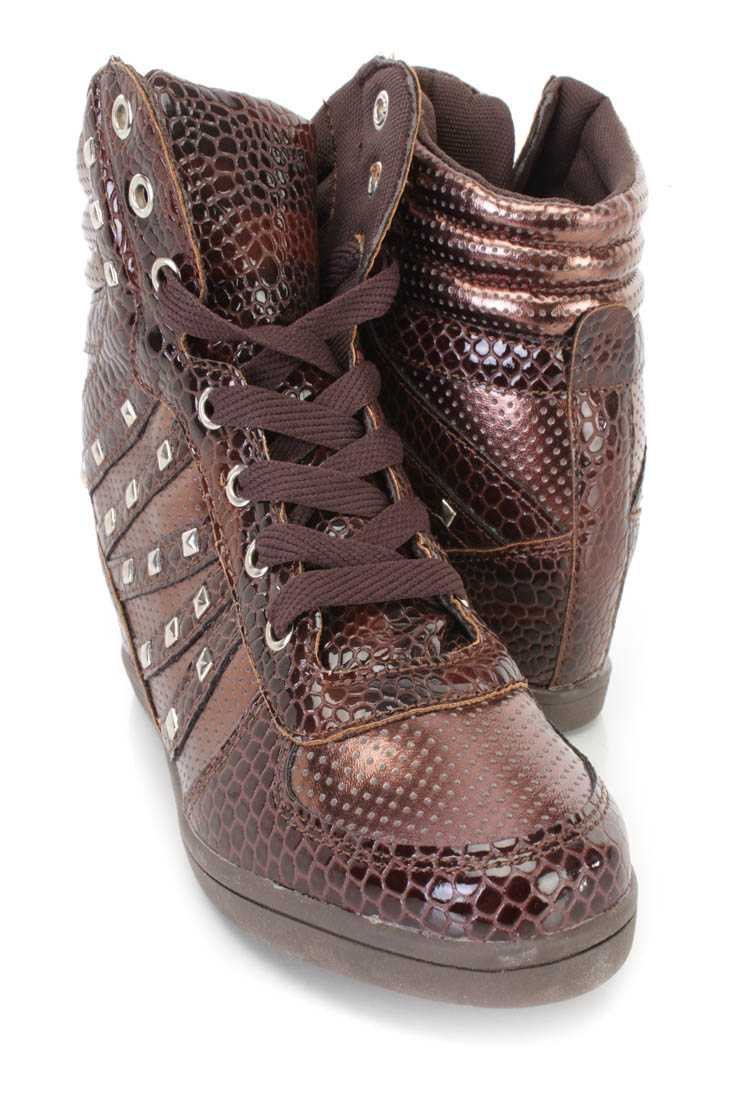 Brown Lace Up Studded Sneaker Wedges Faux Leather