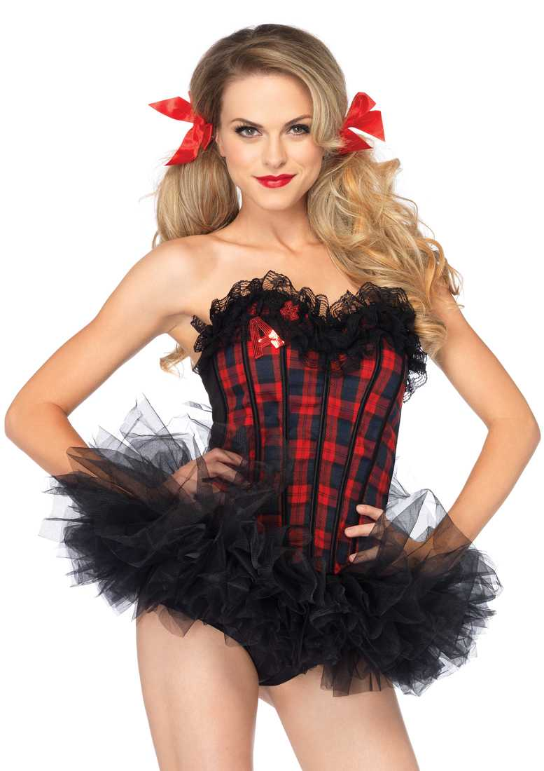 1 PC Easy A Plaid School Girl Corset