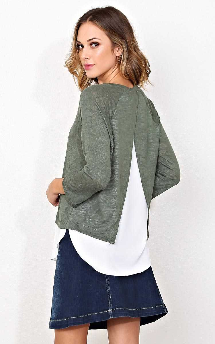 Back Up Knit Top - - Olive/Drab in Size by Styles For Less