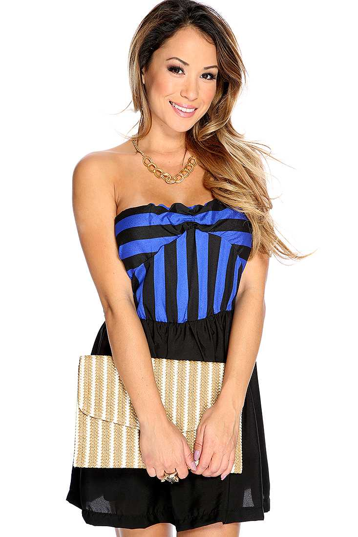 Sexy Blue Black Striped Strapless Short Dress