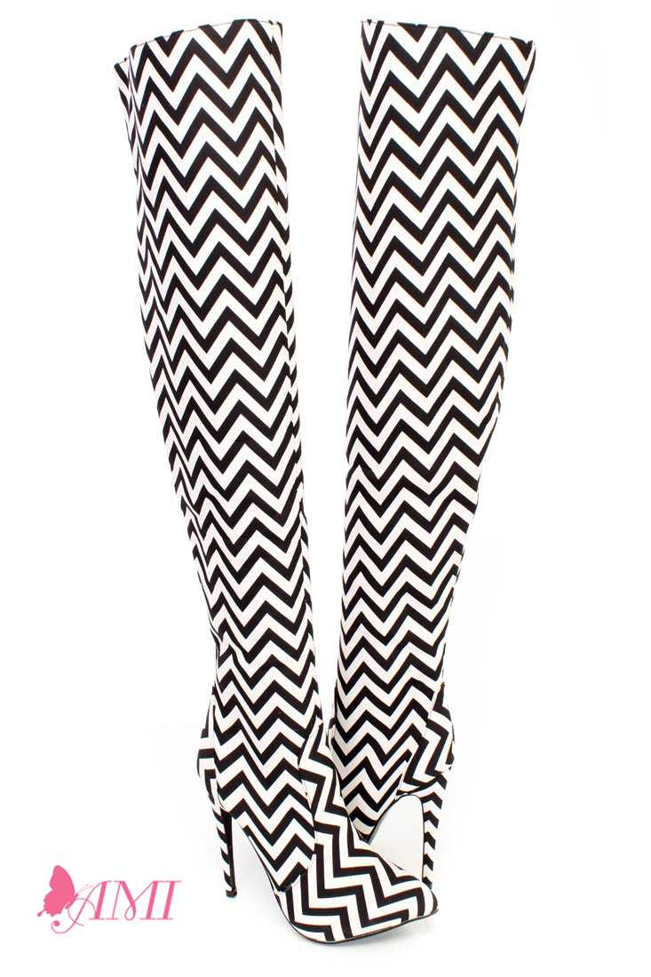 Black White Chevron Print Single Sole Thigh High Heel Boots Fabric