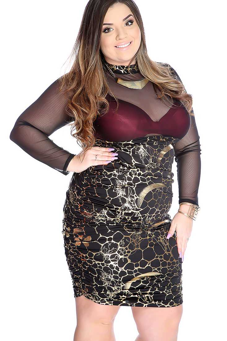 Sexy Gold Black Mesh Long Sleeves Plus Size Party Dress
