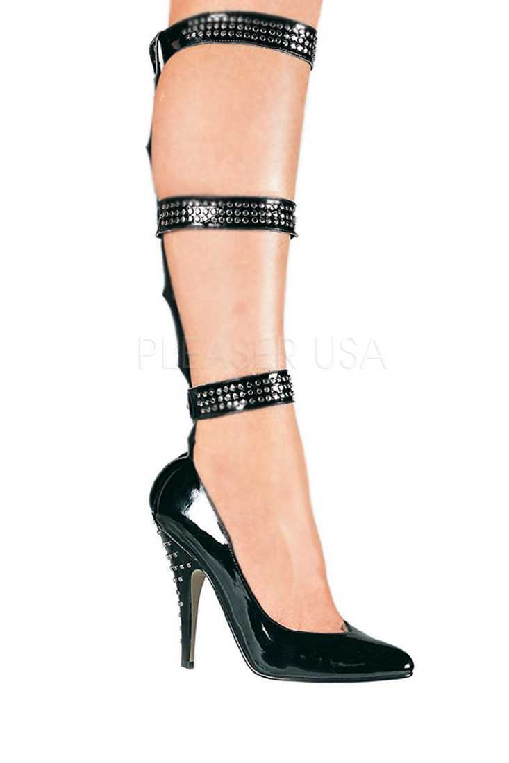 Black Studded Straps Single Sole Pump High Heels Patent