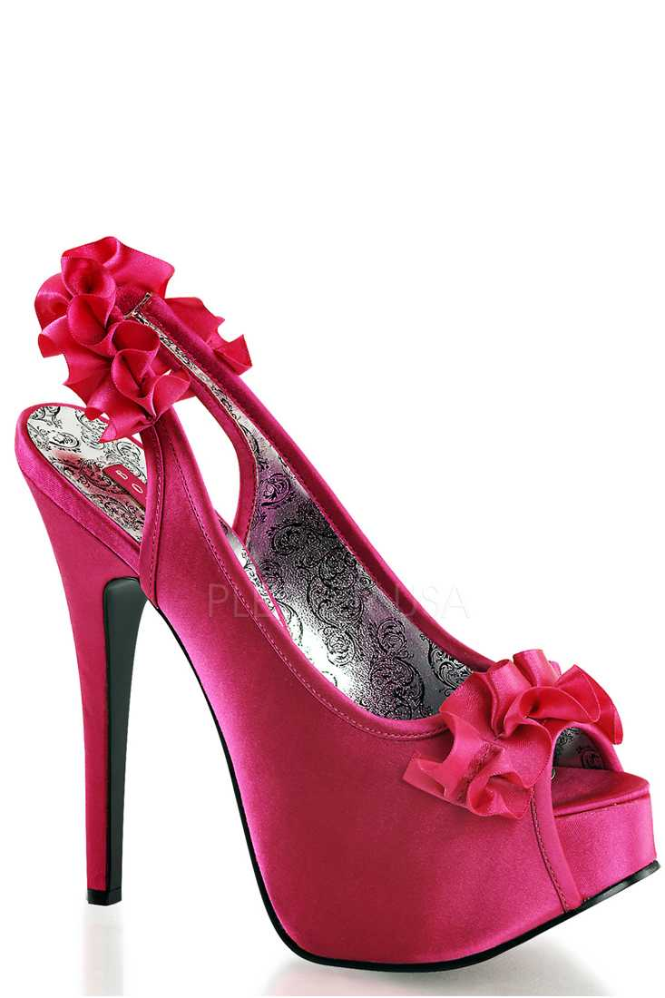 Fuchsia Ruffle Detailed Slingback Platform High Heels Satin