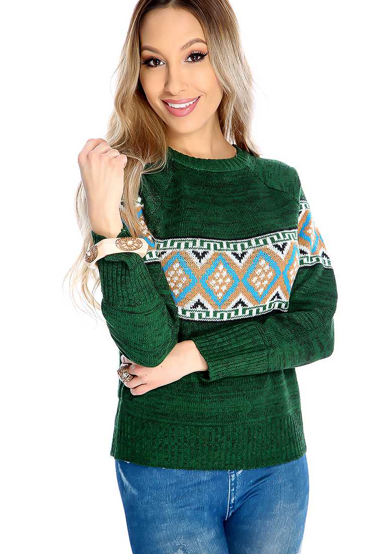 Forest Green Knitted Design Sweater Top