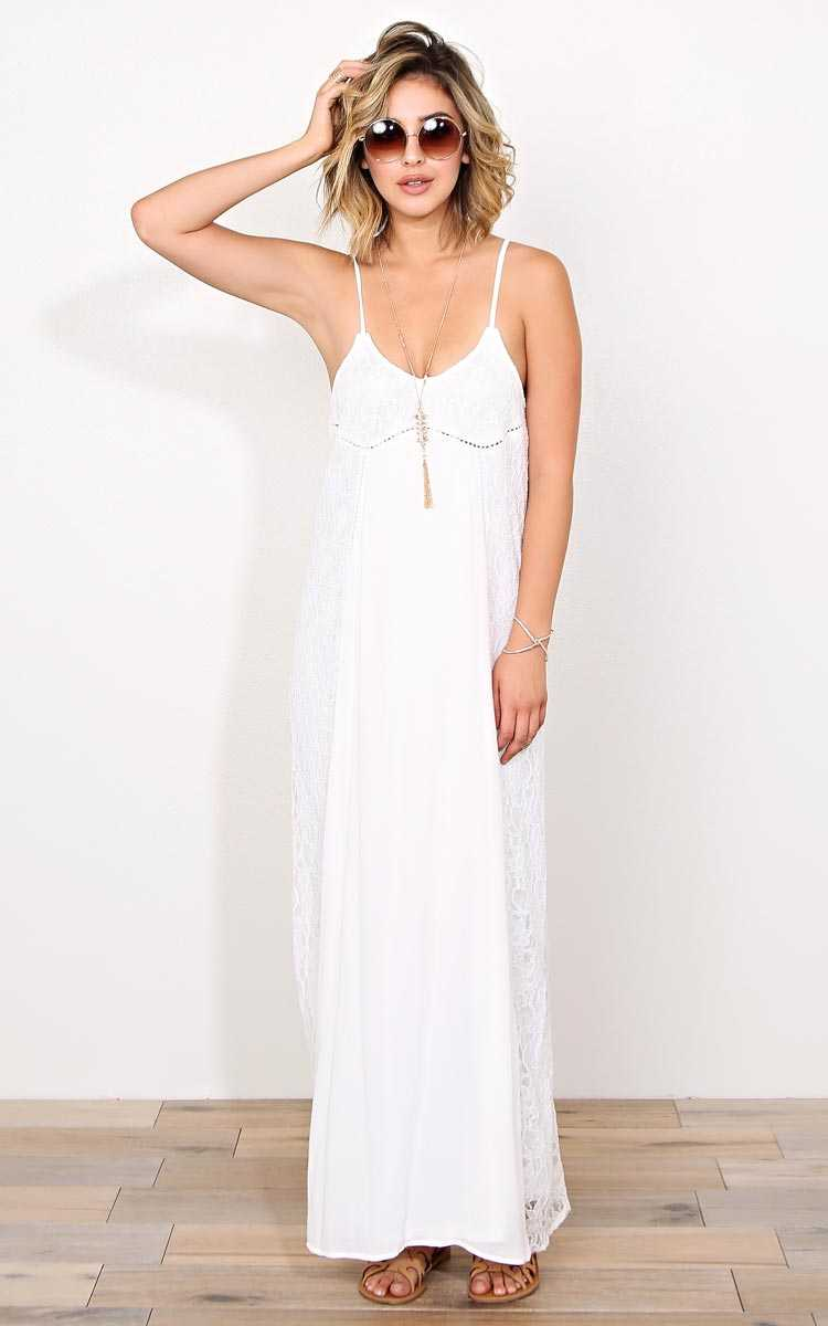 Justice Woven Maxi Dress - - Ivry/Natrl in Size by Styles For Less