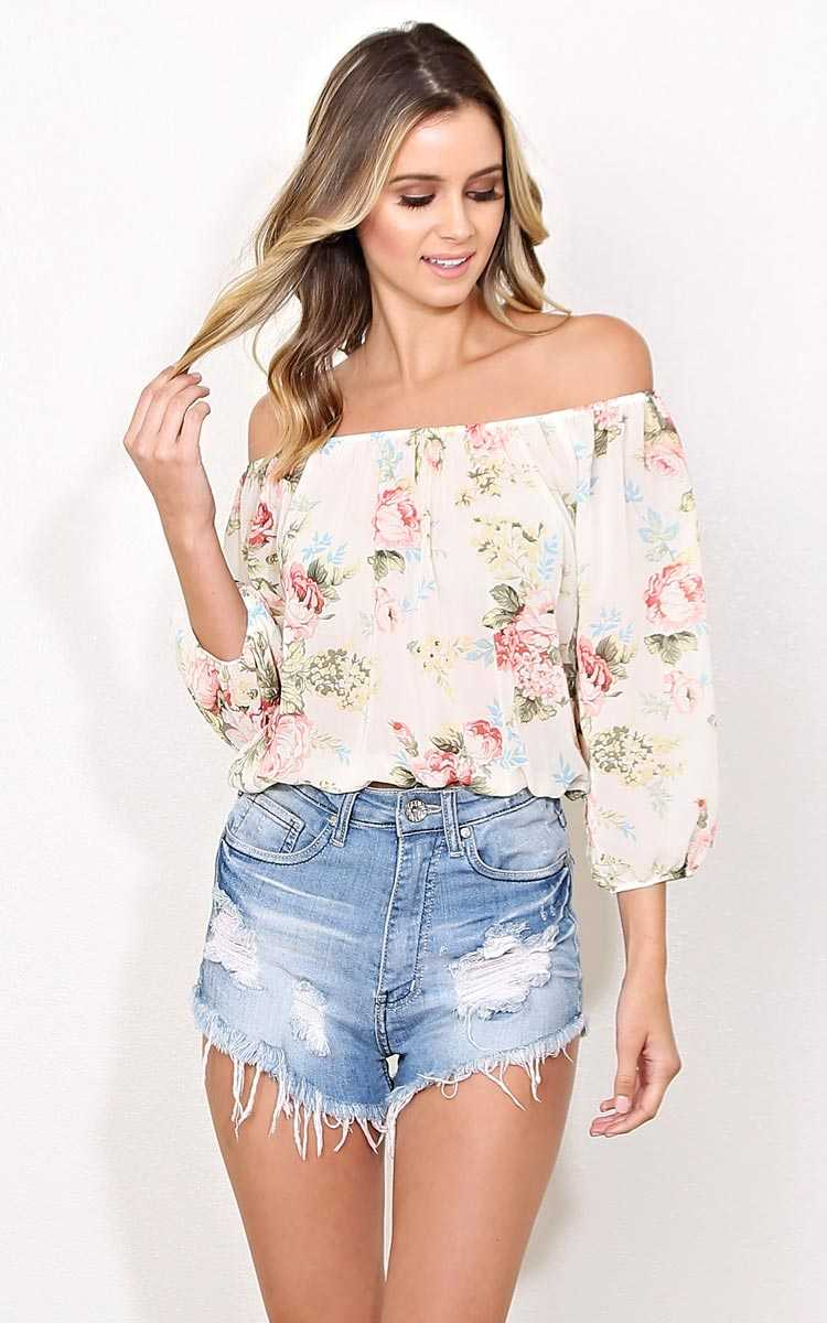 Spring Fling Woven Crop Top - - Ivory Combo in Size by Styles For Less