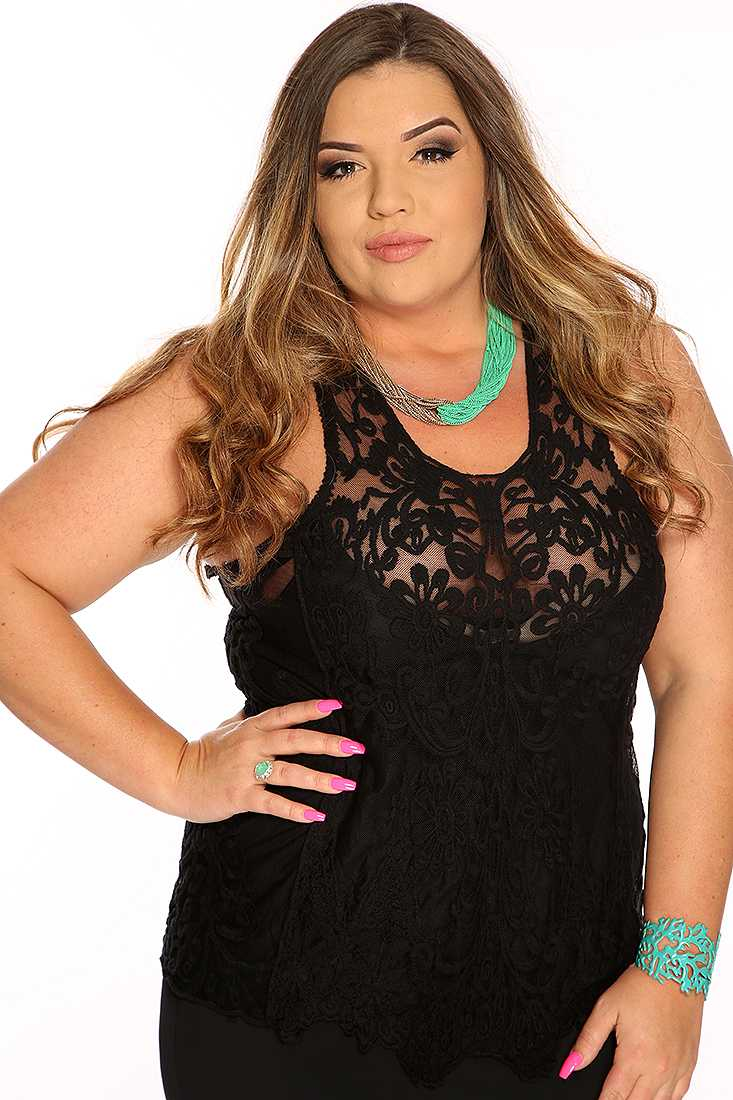 Black Sleeveless Mesh Floral Crochet Sexy Plus Size Top