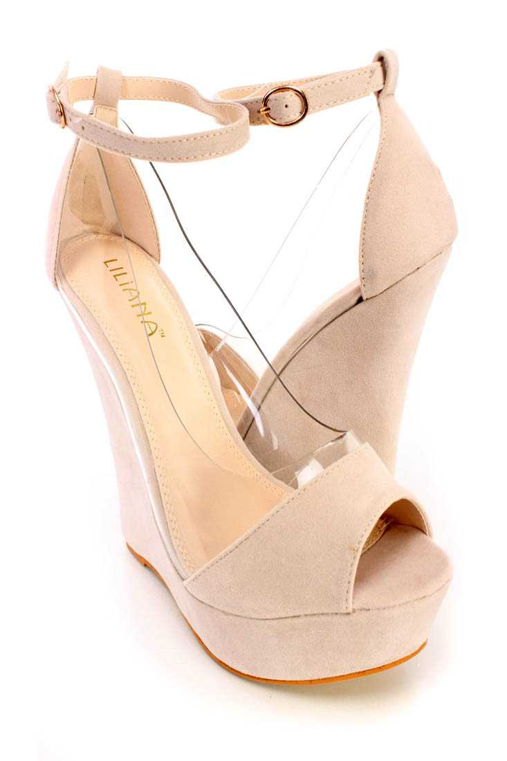 Nude Peep Toe Ankle Strap Wedges Faux Suede