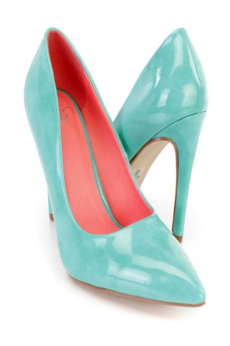 Aqua Pointed Toe Single Sole Pump Heels Patent