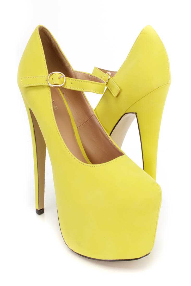Lime Maryjane Platform 6 Inch High Heels Faux Leather