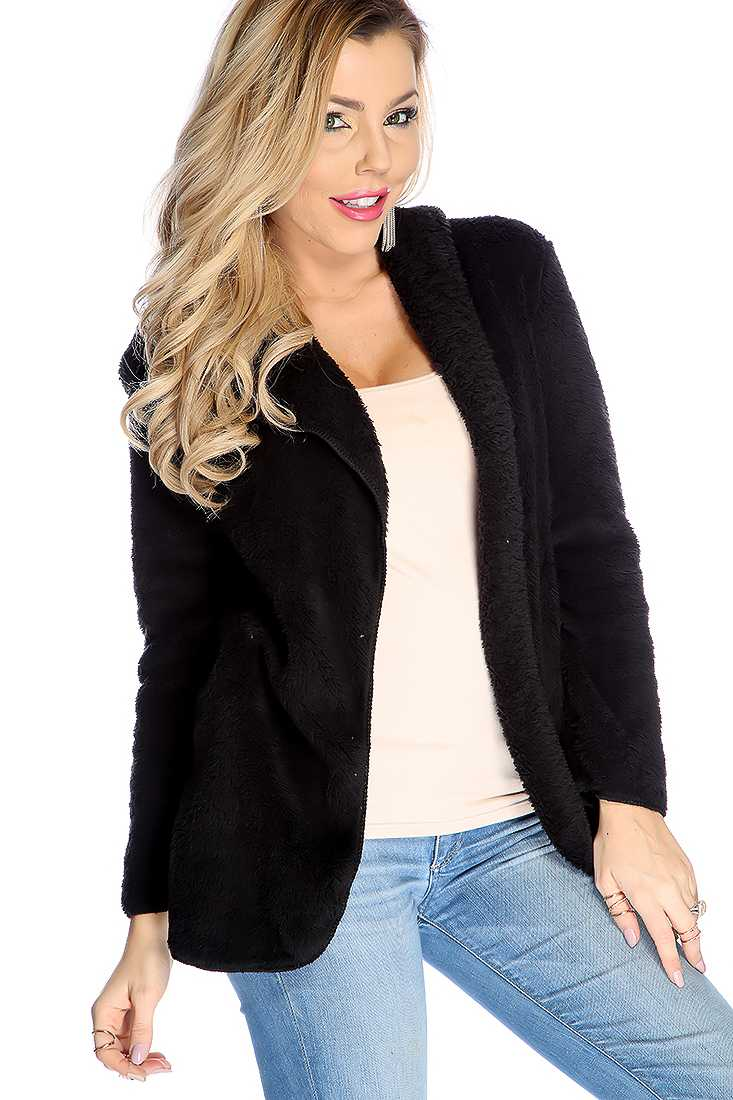 Black Open Front Plush Soft Hoodie Sweater