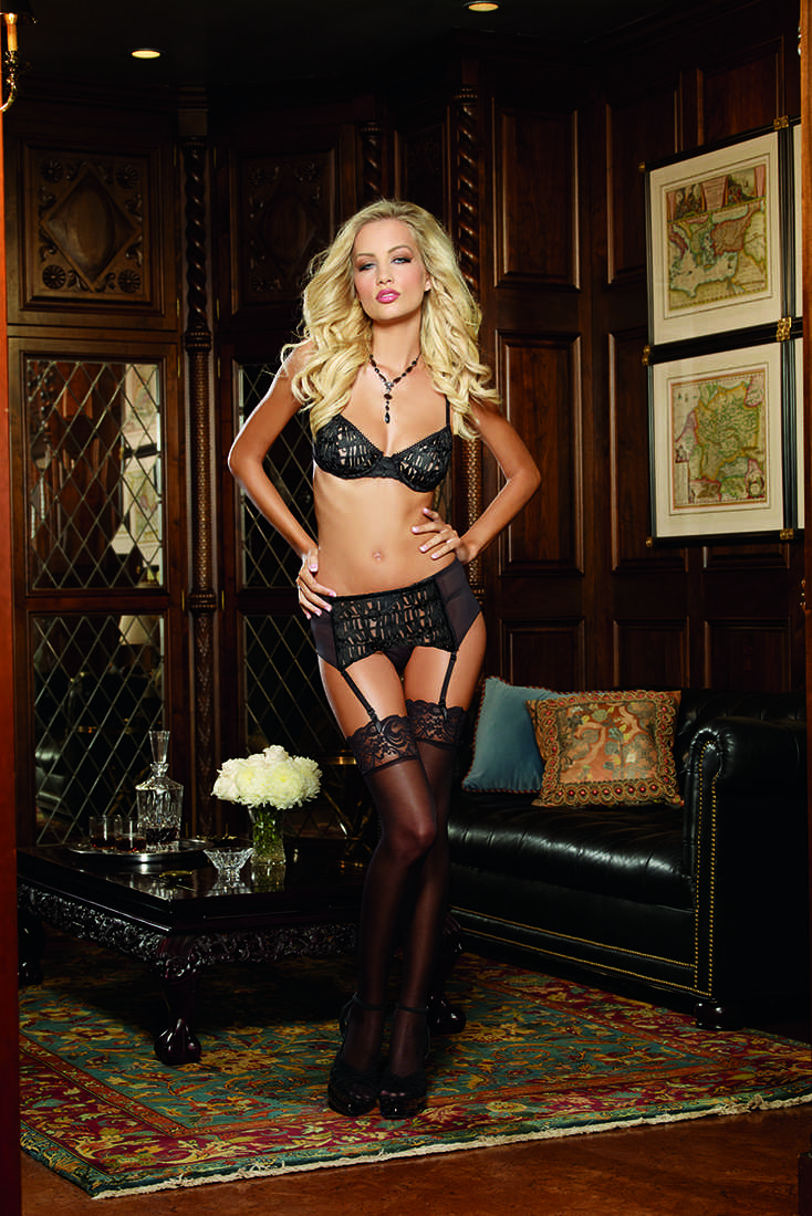 Black Soutache Ribbon Bra Garter Intimates Set