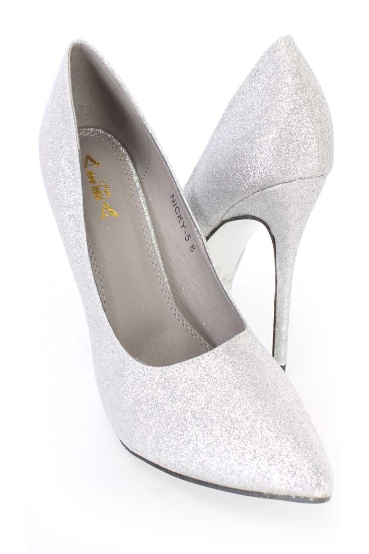 Silver Pointed Toe Single Sole Pump High Heels Glitter