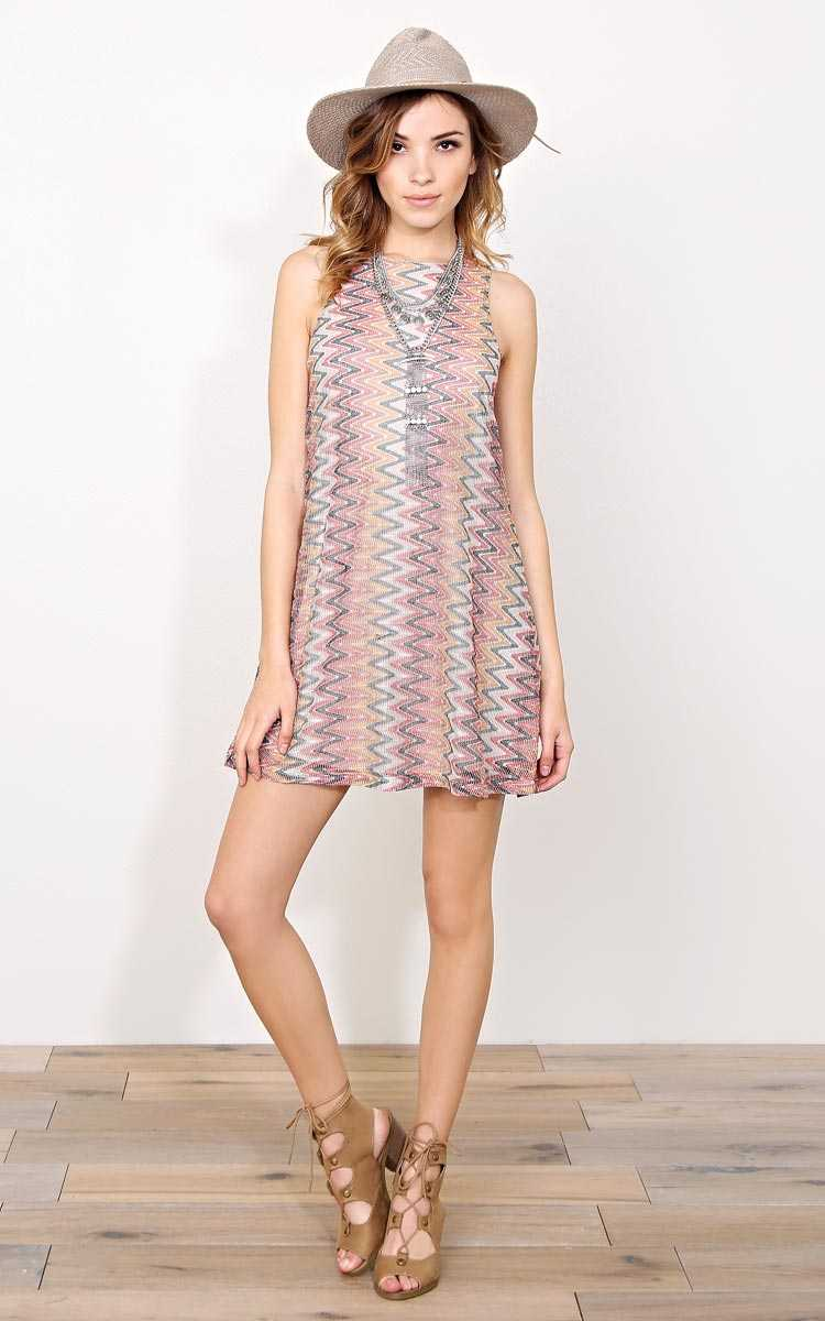 Chevron Fever Woven Dress - - Taupe Combo in Size by Styles For Less