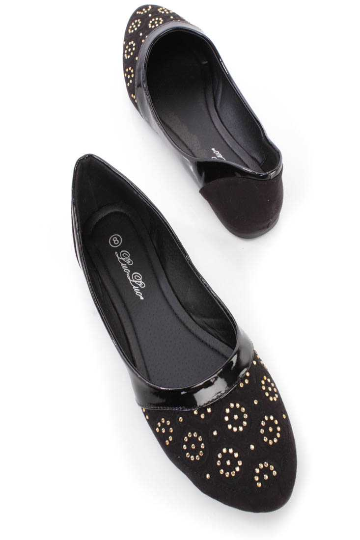 Black Crochet Rhinestone Detailing Ballerina Flats