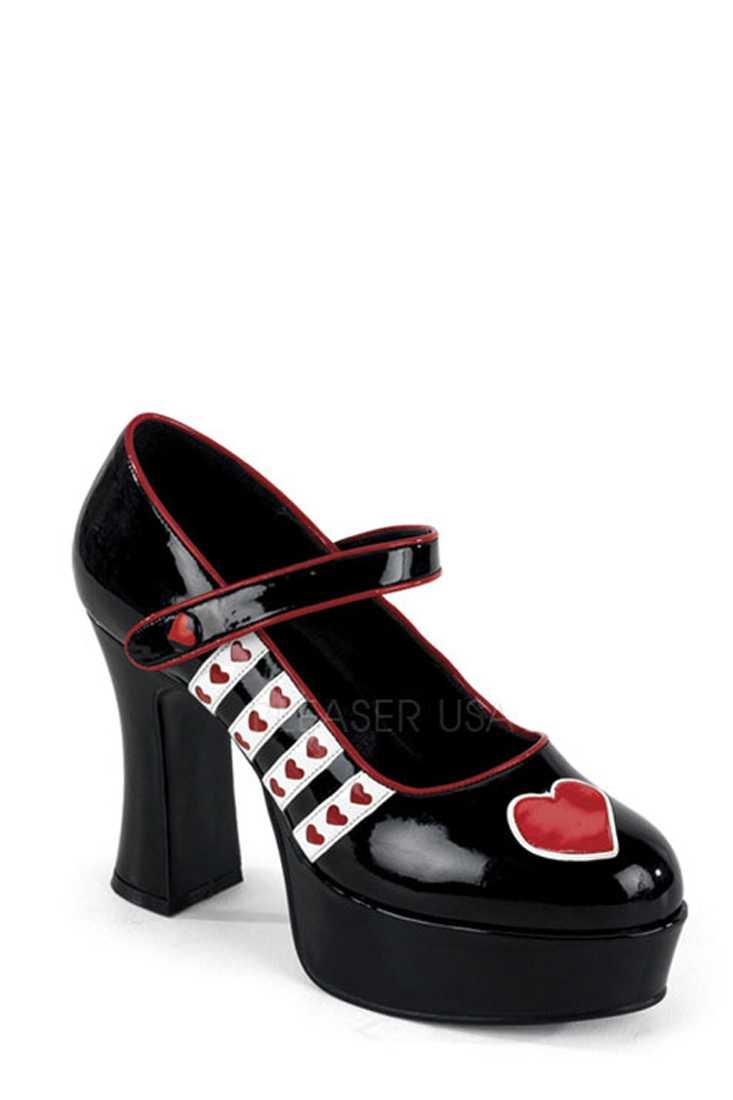 Black White Red Heart Maryjane High Heels Patent
