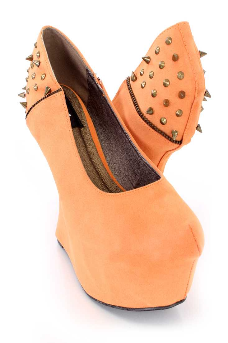 Burnt Orange Spike Studded Gravity Wedges Faux Suede