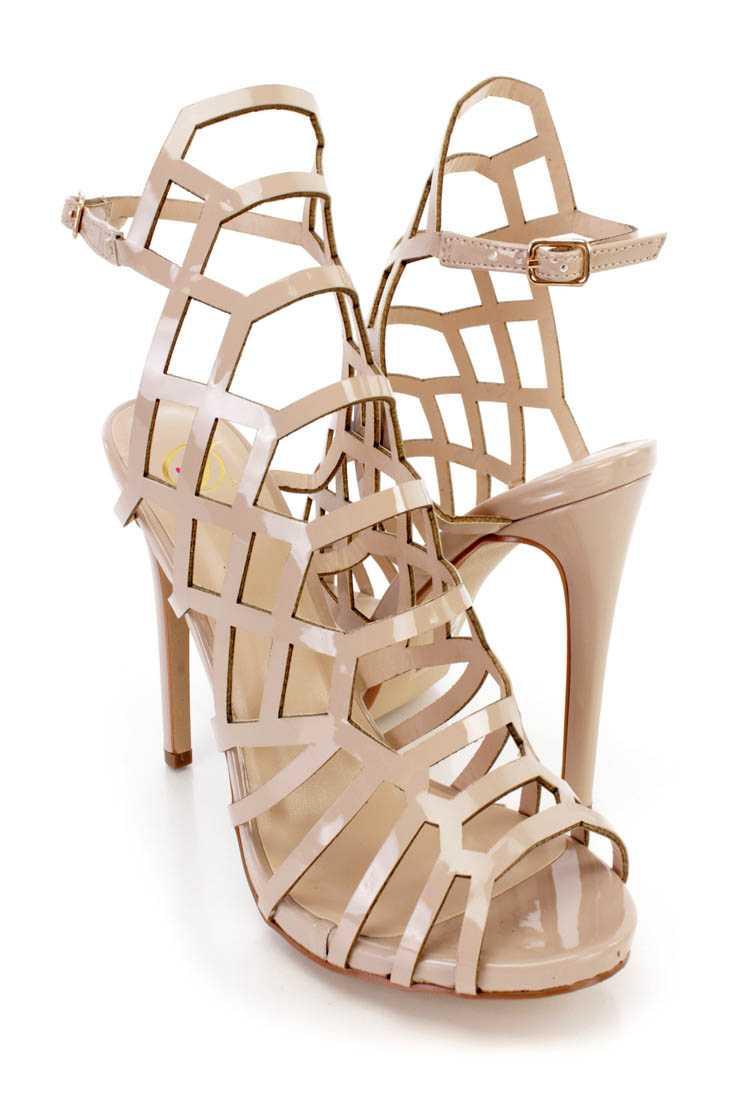 Dark Beige Strappy Single Sole High Heels Patent