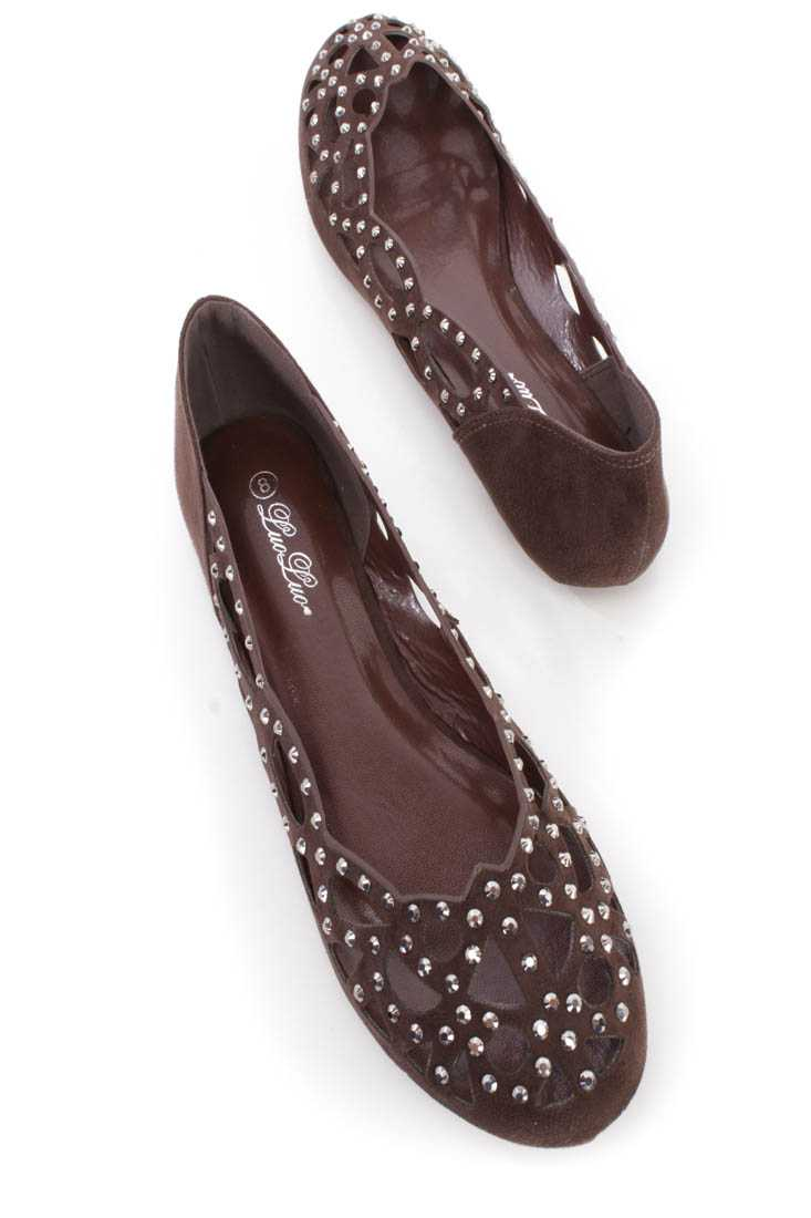 Coffee Cut Out Rhinestone Detail Slip on Flats Faux Suede