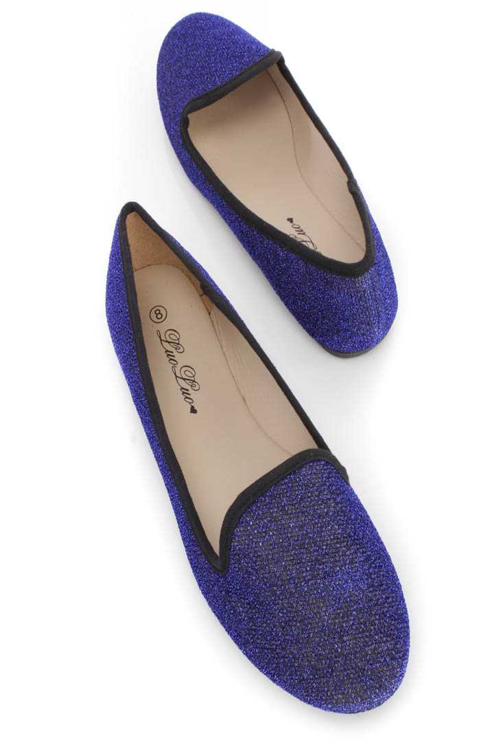 Royal Blue Tinsel Slip On Loafer Flats Shimmer Fabric