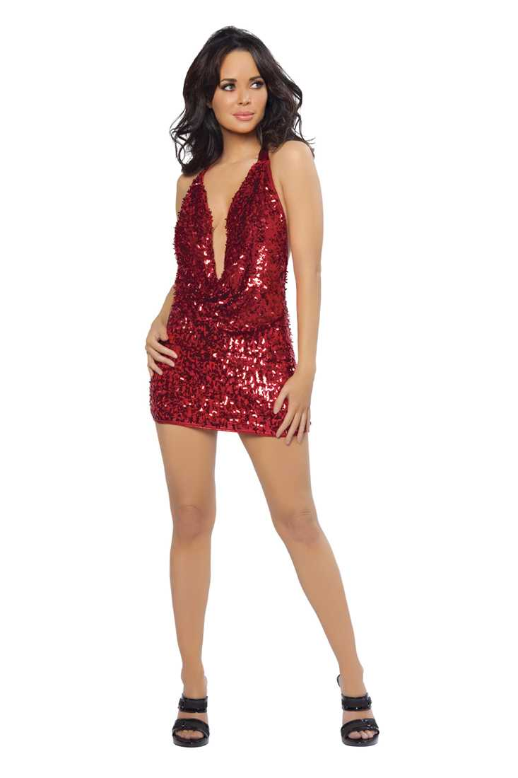 Red Sequin Cowl Neck Sexy Mini Dress